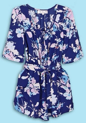 dress floral jumpsuit suit midnight blue navy silky
