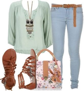 blouse mint necklace owl boho jeans skinny pants sandals floral bag spring summer 2014 shoes