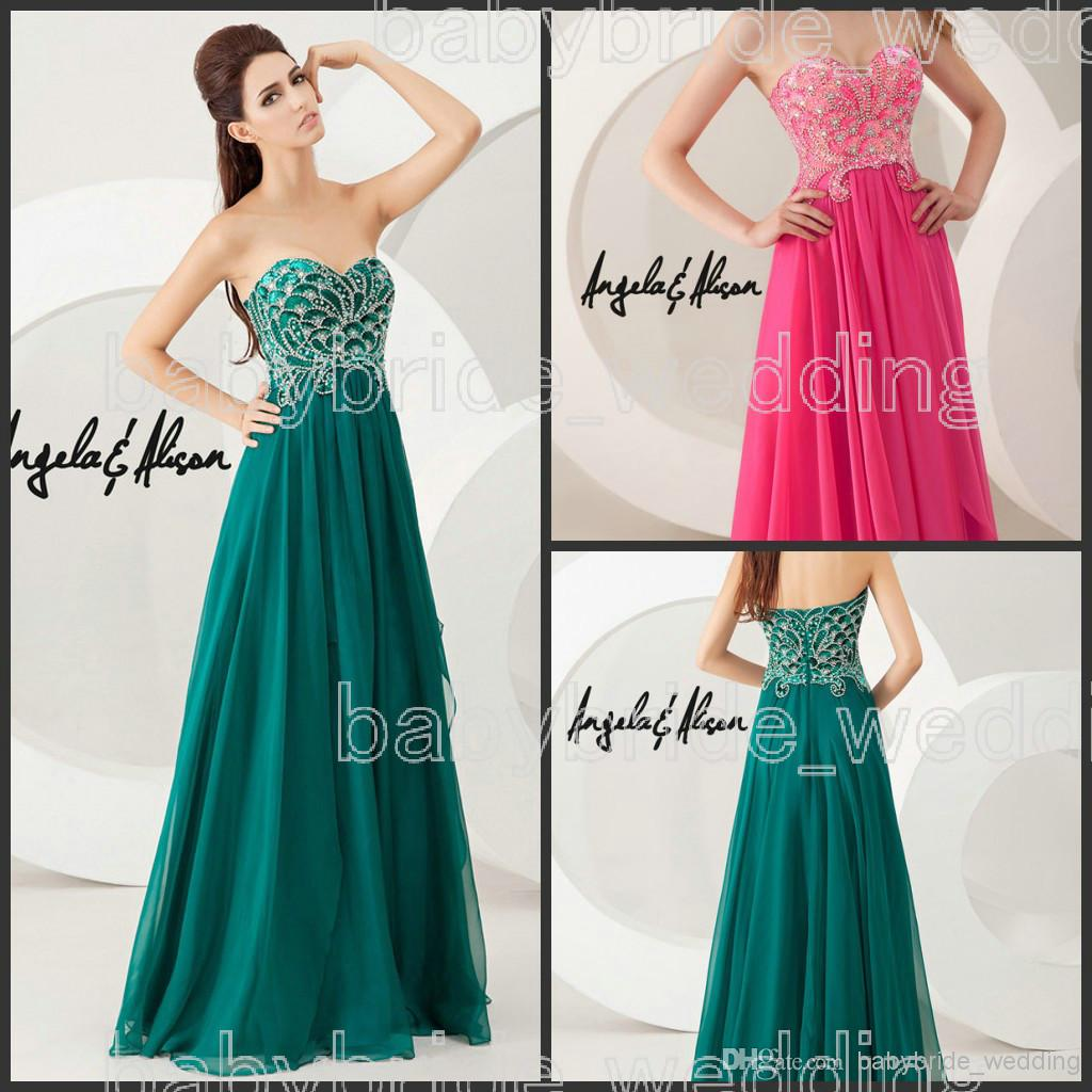 Strapless Prom Dresses Sweetheart Beaded Fuchsia Forest Green Prom Dresses | Buy Wholesale On Line Direct from China
