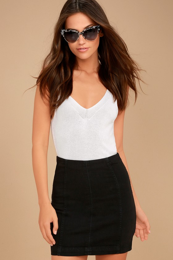 Modern Femme Washed Black Denim Mini Skirt