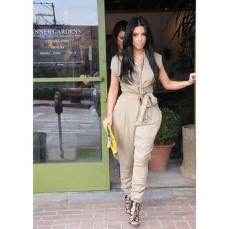 jumpsuit shoes purse bag kim kardashian kim kardashian jumpsuit nude jumpsuit