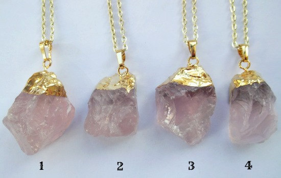 Gold dipped natural rose quartz necklace