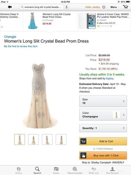 dress beaded mermaid gown slit dress