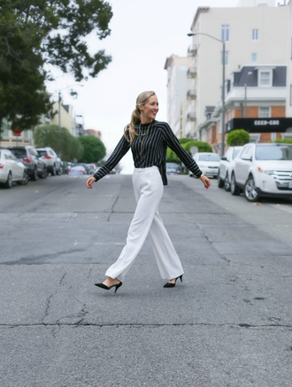 the classy cubicle blogger pants striped shirt wide-leg pants black heels
