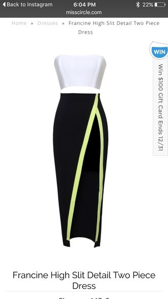 neon skirt white crop tops black skirt slit skirt slit maxi skirt