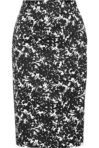 skirt floral cotton print black