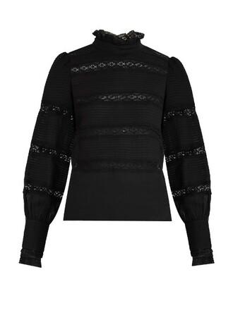 top long lace cotton black