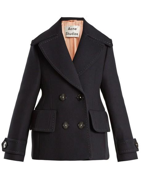 Acne Studios coat wool coat wool navy
