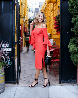 the classy cubicle blogger shoes bag jewels red dress long sleeve dress bell sleeves off the shoulder black heels black bag date outfit summer dress