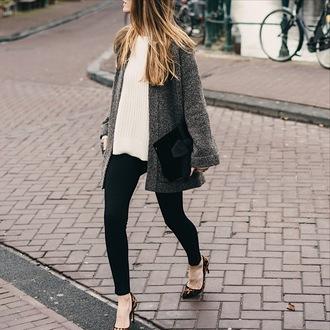 cardigan tumblr grey cardigan sweater white sweater pants black pants skinny pants pumps pointed toe pumps high heel pumps leopard print bag black bag