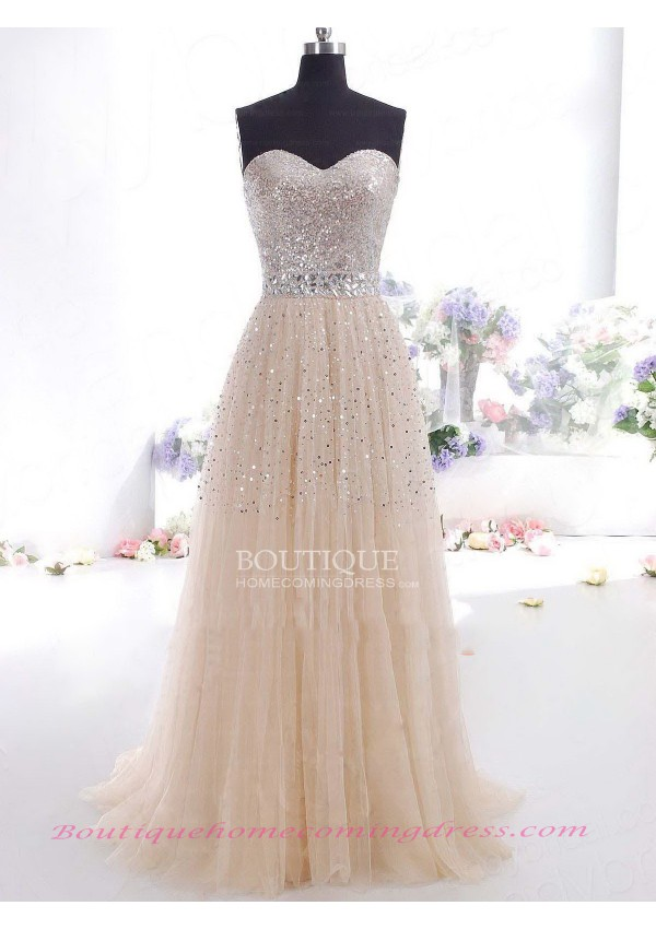 Sweetheart sleeveless natural prom dress