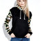 Casual print patchwork pocket long sleeve pullover women hooded sweatshirt