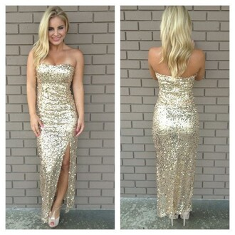 dress gold evening gowns cheap prom dresses 2015 strapless evening dresses high slit prom gowns