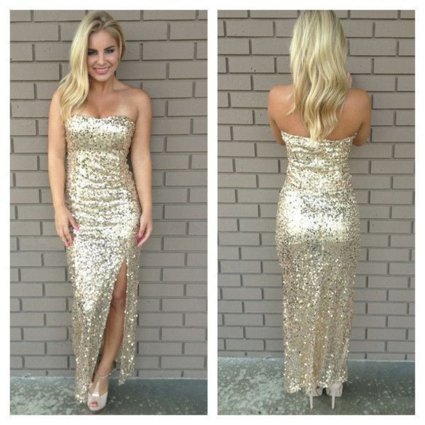 Dress: gold evening gowns, cheap prom dresses 2015, strapless ...