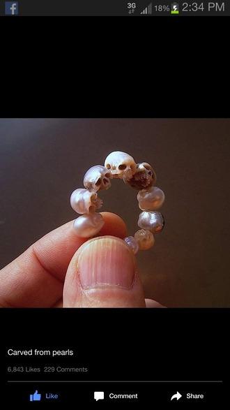 jewels ring pearl skull