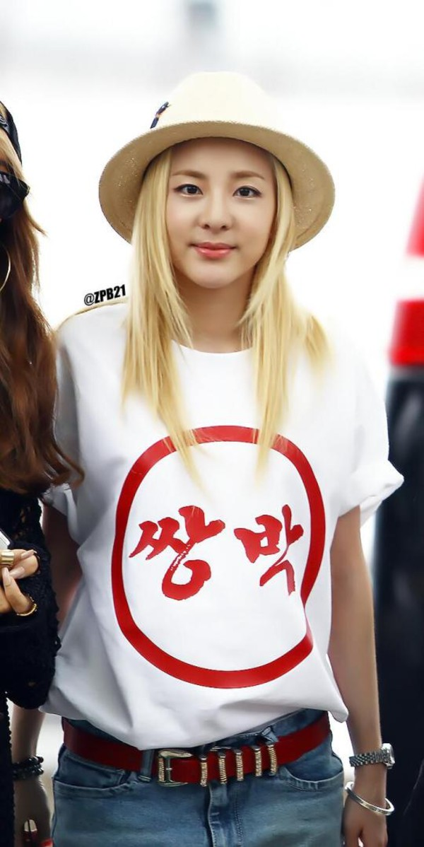 t-shirt double park t-shirt 2ne1 dara korean style celebrity style hat