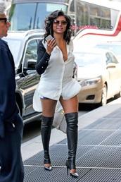 denim shorts,white blouse,button up,sunglasses,taraji p. henson,shoes,blouse