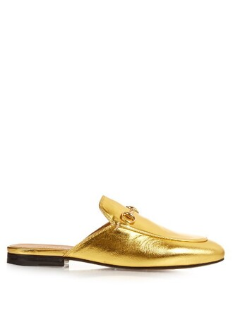 backless loafers leather gold shoes