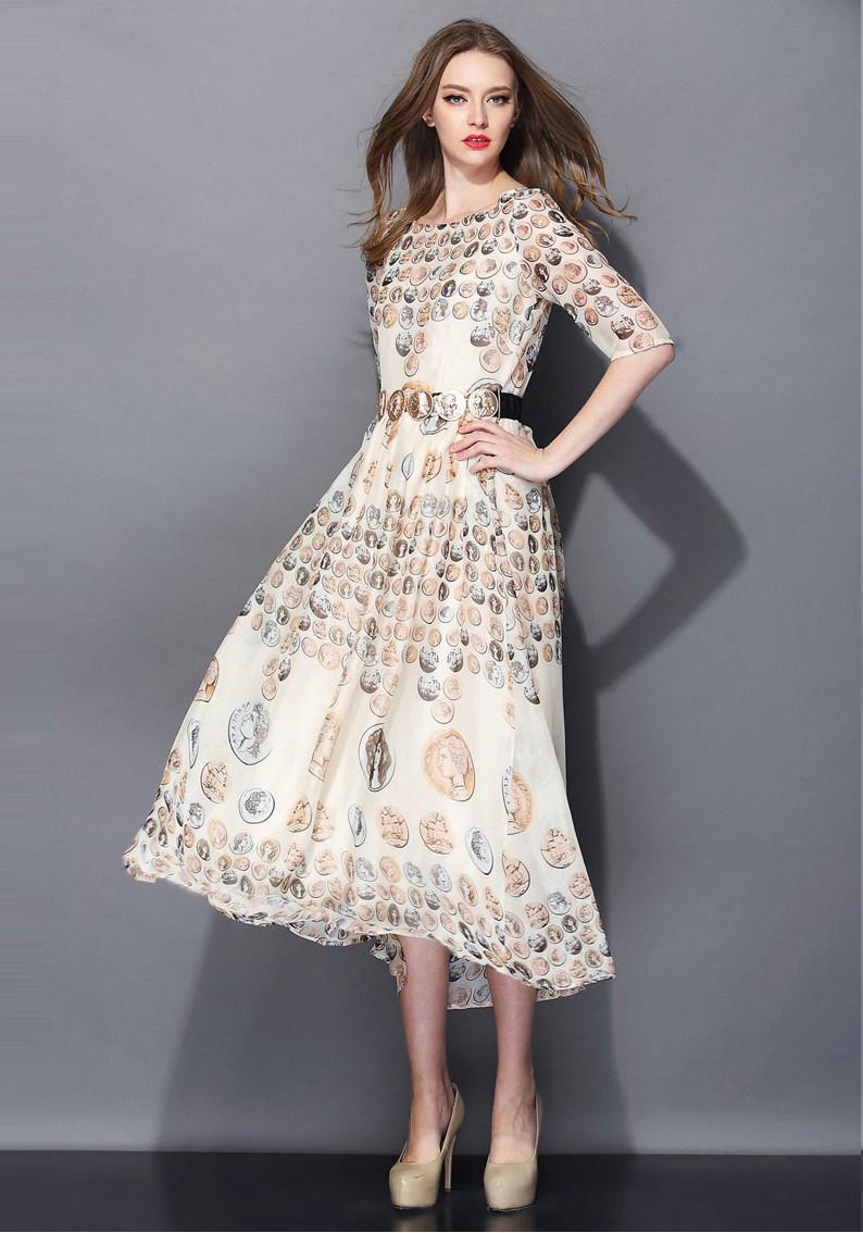 Coin Printed Half Sleeve Dress