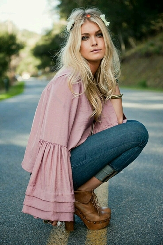 top bell sleeve top camel boots bell sleeves pink top long sleeves jeans blue jeans boots flower crown hair accessory