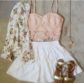 top,roses,skirt,flower top,tank top,bandeau,jacket,blouse,shorts,sandals,peach,floral,flowers,gold,white,green,cardigan,bralette,crochet crop top,under 20$,pink,cute,hot,crop tops,summer,girly,spring,pretty,shirt,light pink,lace,blush pink,lace top,lace crop top,pink top