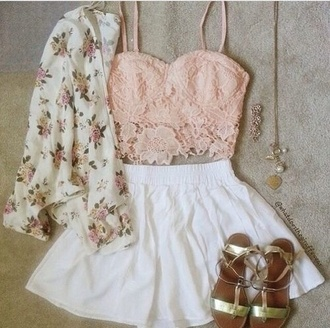 top roses skirt flower top tank top bandeau jacket blouse shorts sandals peach floral flowers gold white green cardigan bralette crochet crop top under 20$ pink cute hot crop tops summer girly spring pretty shirt light pink lace blush pink lace top lace crop top pink top