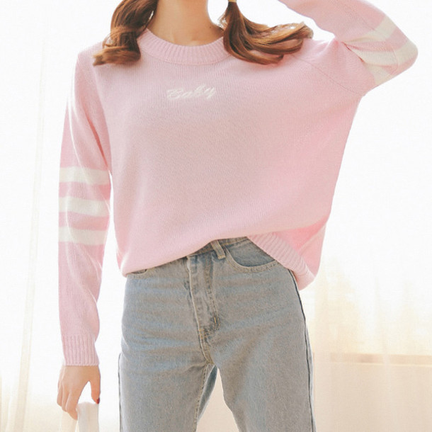 Sweater: baby pink, baby blue, pastel, college, warm, streetwear ...