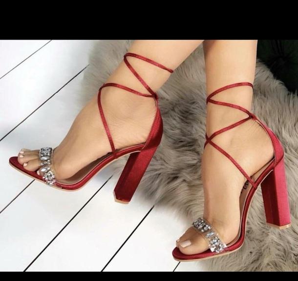 shoes heels high heels rhinestones red