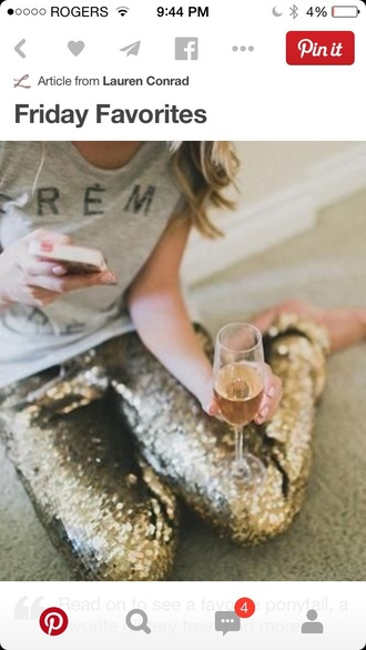 t-shirt creme grey t-shirt sparkle pants gold gold sequins outfit new year's eve