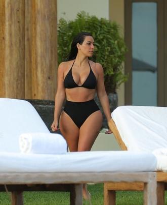 swimwear high waisted bikini swimming black bikini kim kardashian kardashians