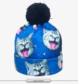 hat beanie cats space galaxy print hipster swag kawaii