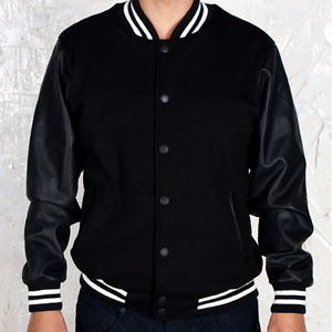 Varsity Letterman College Baseball Cotton Leather Jacket Black Black | eBay