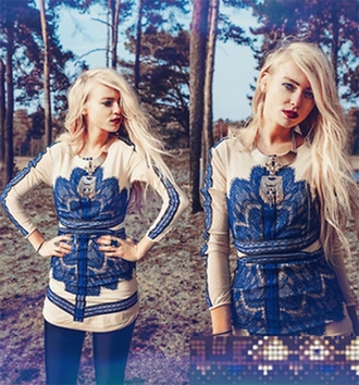 dress blue mesh long sleeves fashion lace style blonde hair girl fashionista