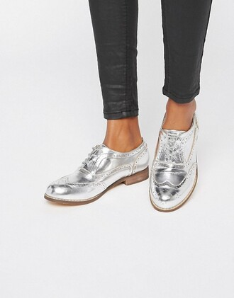 shoes oxfords asos silver shoes