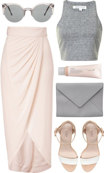 grey swimwear skirt high heels crop tops blush clutch lipgloss outfit cute chic tank top shoes bag sunglasses