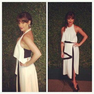 dress black and white dress lea michele emmys 2014