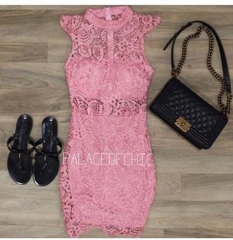 dress purse bag sandals shoes pink dress pink lace dress floral dress turnlock