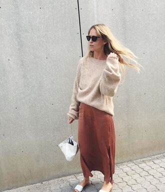 sweater tumblr brown dress maxi dress slit dress slide shoes white shoes beige sweater oversized sweater white bag sunglasses black sunglasses nude sweater slip dress fall colors fall outfits silk slip dress