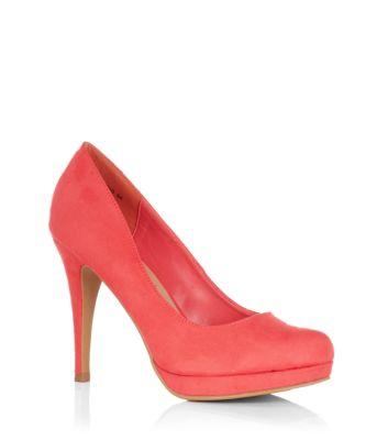 Coral Suedette Court Shoes