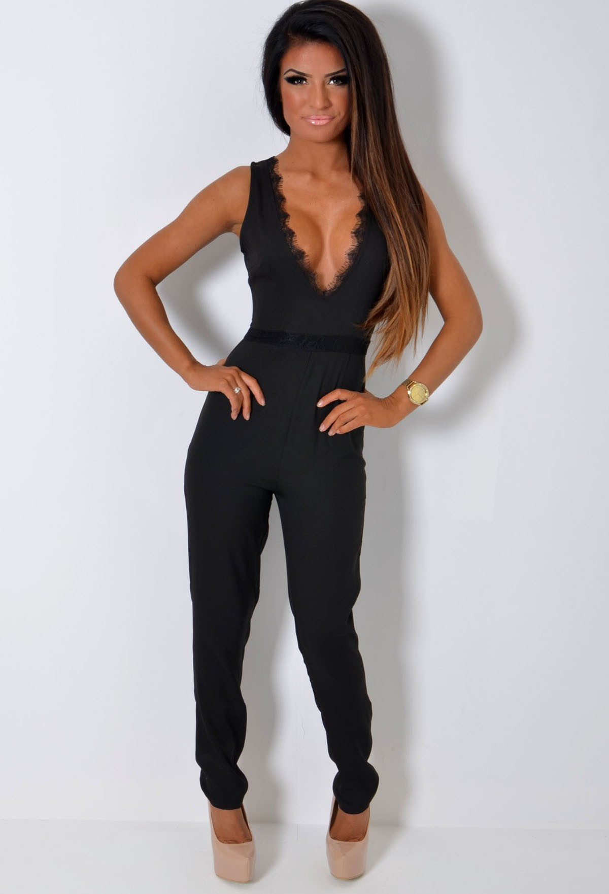 Zuzu black lace detail super plunge jumpsuit