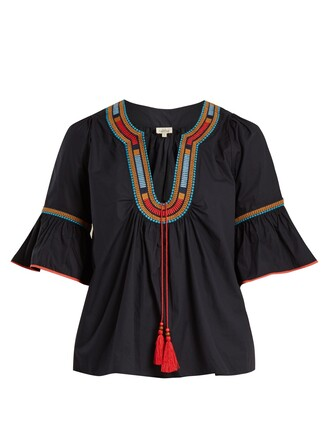 blouse embroidered cotton navy top