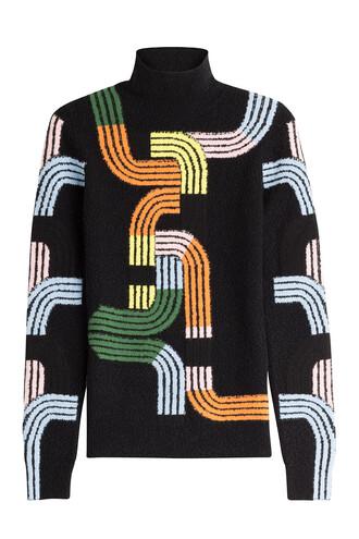 turtleneck wool multicolor sweater