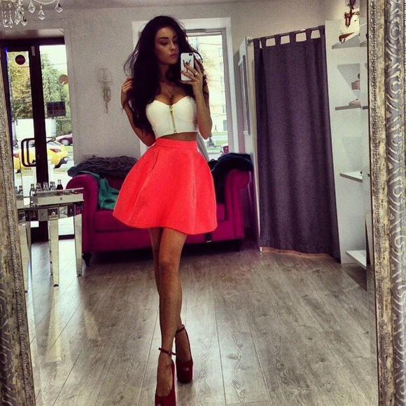 coral dress skater skirt white pink redheels