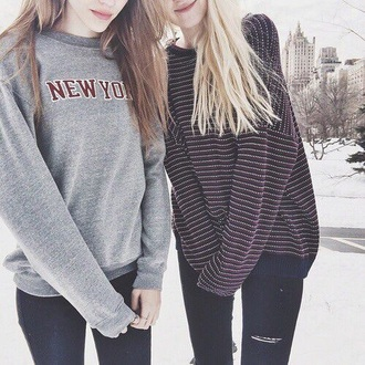 shirt new york city style winter sweater sweater comfy new york shirt new york sweatshirt striped sweater oversized sweater top stripes grey sweater couple sweaters
