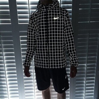 jacket nike sweater glow in the dark sportswear plaid jacket