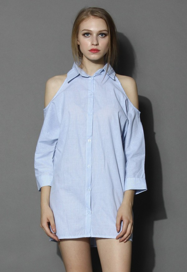 chicwish shirt dress cut out shoulder