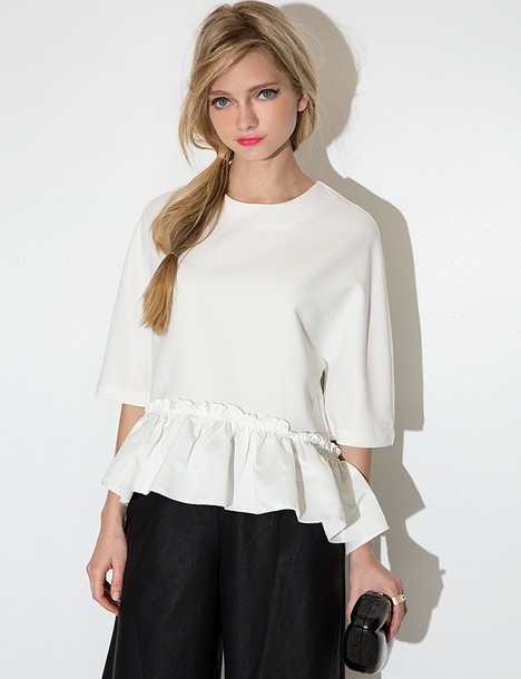 White Summer Blouse - Black Dressy Blouses