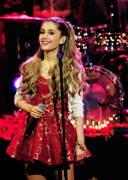 dress ariana grande ariana grande butera red dress red gold gold dress song bag