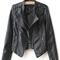 Black lapel rivet zip pocket pu leather jacket - sheinside.com