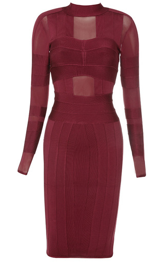Sleeve Mesh Insert Bandage Dress Burgundy